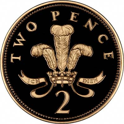 Reverse of Gold Twopence of 2008