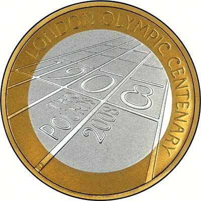 Reverse of 2008 London 1908 Olympics Centenary Two Pound Coin