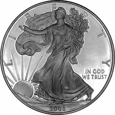Obverse of 2008 One Ounce Silver Eagle