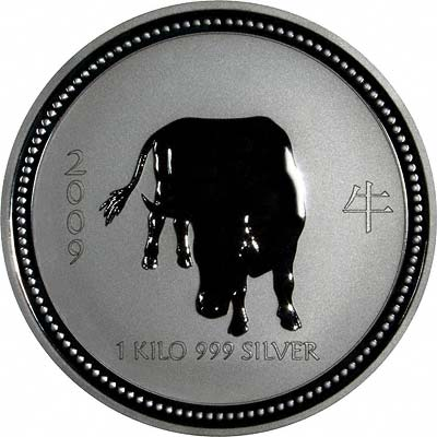 Reverse of 2007 / 2009 Australian Year Of The Ox One Ounce Silver Bullion Coin - Series 1