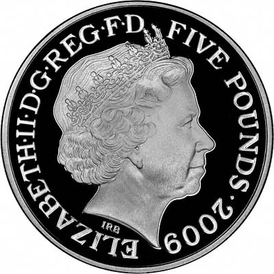 Obverse of 2009 Silver Proof £5 Crown