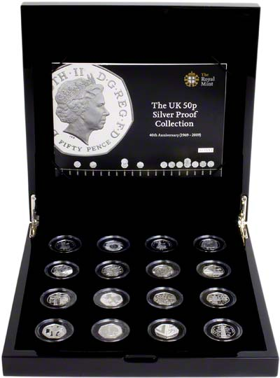 1969 2009 Silver Proof Fifty Pence Collection