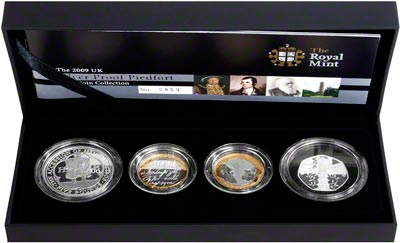 2009 Four Coin Silver Proof Piedfort Collection in Presentation Box