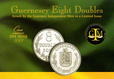 2009 8 doubles - guernsey 1oz silver folder OBV