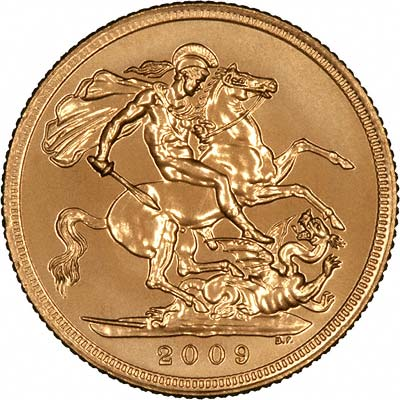Reverse of Uncirculated 2009 Gold Sovereign