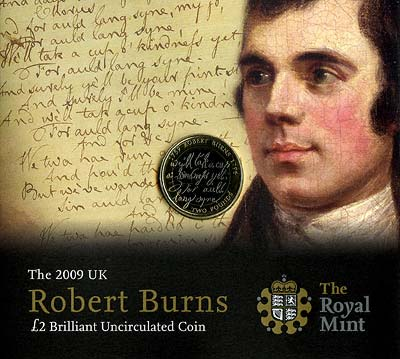 2009 Robert Burns Uncirculated Two Pound Coin in Specimen Pack