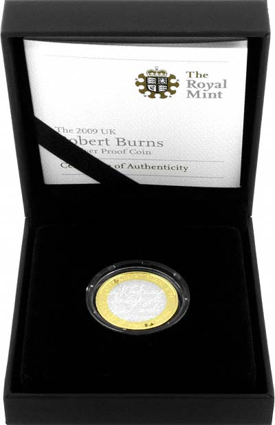 2009 Robert Burns Silver Proof Two Pound Coin in Presentation Box