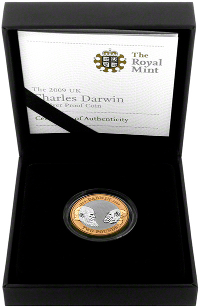 2009 Charles Darwin Silver Proof Two Pound Coin in Presentation Box