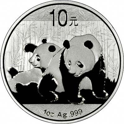 2010 10 YUAN CHINESE SILVER PANDA 1 OZ.