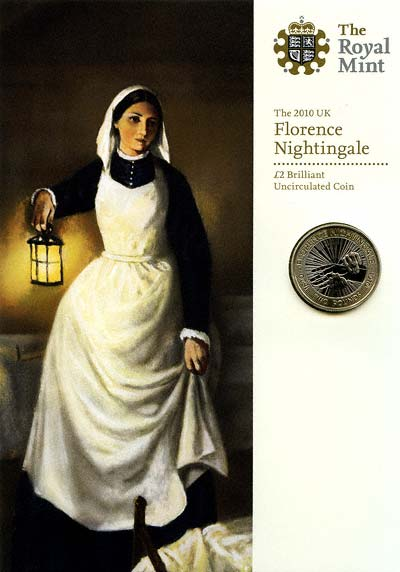 2010 Florence Nightingale Uncirculated Two Pound Coin in Specimen Pack