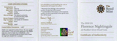 Obverse of 2010 Florence Nightingale Piedfort Silver Proof Two Pound Coin Certificate