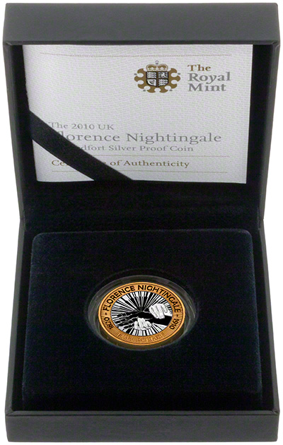 2010 Florence Nightingale Piedfort Silver Proof Two Pound Coin in Presentation Box