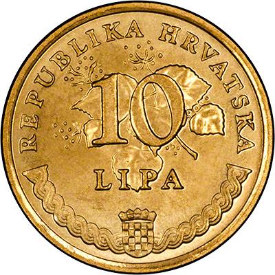 Obverse of 2011 Croatian 10 Lipa