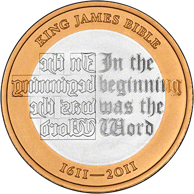 Reverse of 2011 King James Anniversary Proof Two Pound Coin