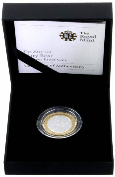 Reverse of 2011 Mary Rose Proof Two Pound Coin