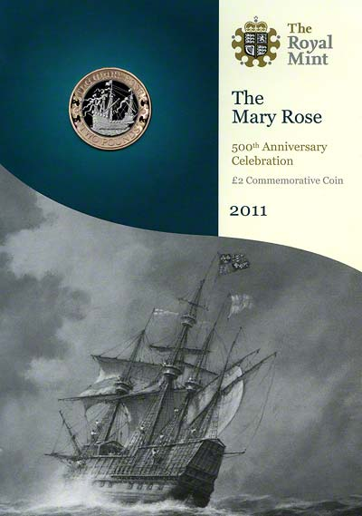 2011 Mary Rose Uncirculated Two Pound Coin in Specimen Pack