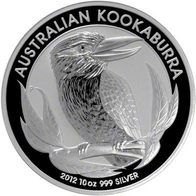 Reverse of 2012 Australian Ten Ounce Silver Kookaburra
