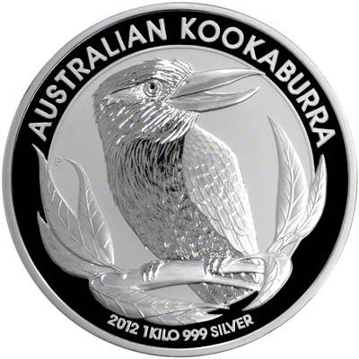 Reverse of 2012 Australian One Kilo Silver Kookaburra