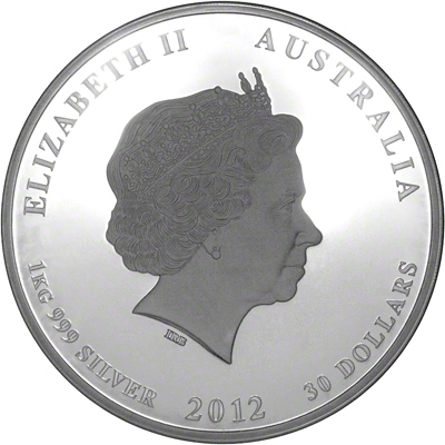 Obverse of 2012 Australian Diamond Jubilee One Kilo Silver Coin