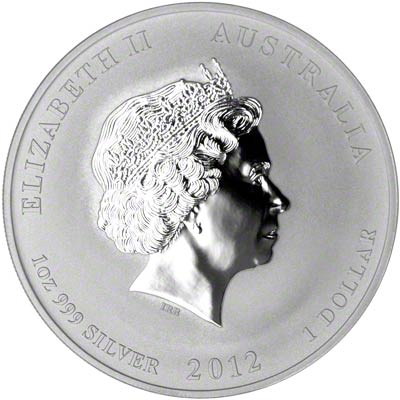 Obverse of 2012 Australian Year Of The Dragon One Ounce Silver Bullion Coin - Series 2