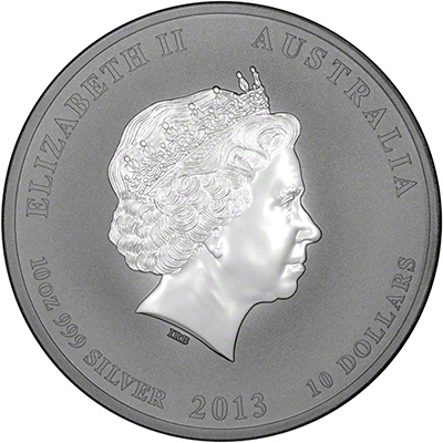 Obverse of 2013 Australian Year of the Snake Ten Ounce Silver Coin - Series 2