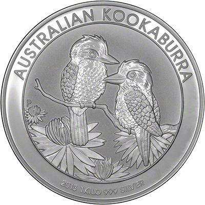 Reverse of 2013 Australian One Kilo Silver Kookaburra