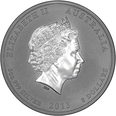 Obverse of 2013 Australian Year of the Snake Five Ounce Silver Coin - Series 2