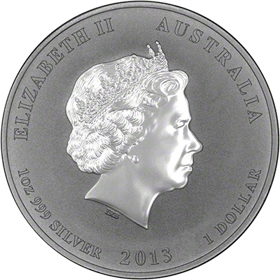 Obverse of 2013 Australian Year of the Snake Half Ounce Silver Coin - Series 2