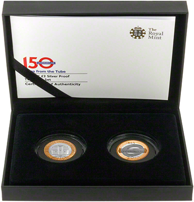 2013 London Underground Silver Proof Two Pound Coin - Two Coin Set
