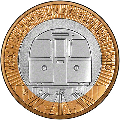 Reverse of 2013 London Underground Two Pound Coin - Train