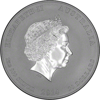 Obverse of 2014 Australian Year of the Horse One Kilo Thirty Dollars Silver Coin - Series 2