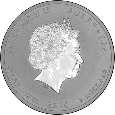 Obverse of 2014 Australian Year of the Horse Five Ounce Eight Dollars Silver Coin - Series 2