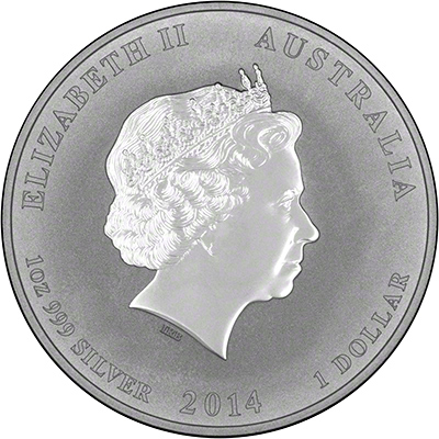 Obverse of 2014 Australian Year of the Horse One Ounce Silver Coin - Series 2