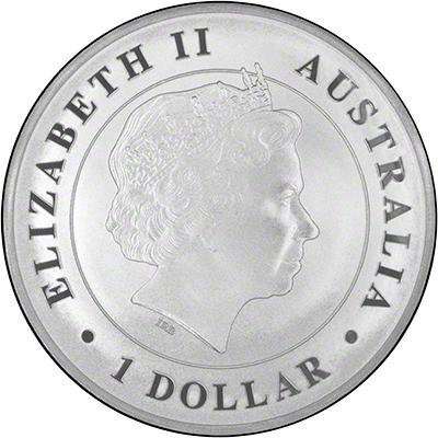 Obverse of 2014 Australian One Ounce Silver Crocodile