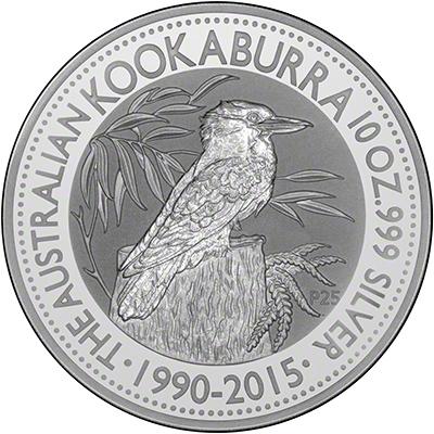 Reverse of 2015 Australia One Ounce Silver Kookaburra