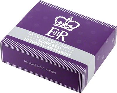 2015 Longest Reigning Monarch Silver Intaglio Outer Presentation Box