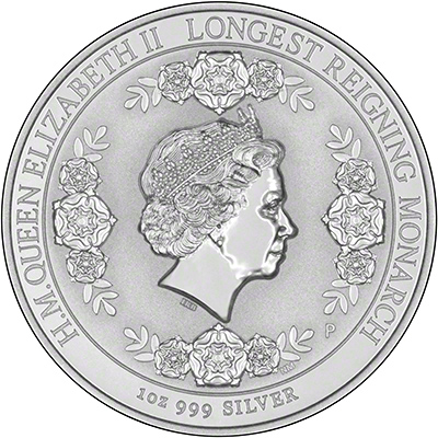 Reverse of 2015 Longest Reigning Monarch Silver Intaglio One Ounce Coin