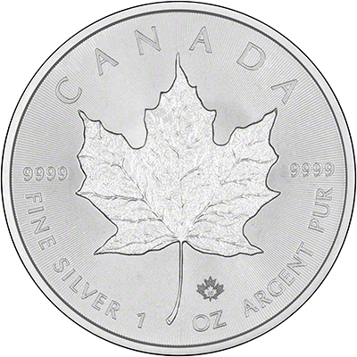 Obverse of 2015 Silver Maple Leaf with Security Privvy Mark