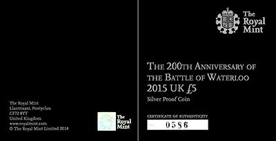 Battle of Waterloo Silver Proof �5 Crown Certificate Obverse