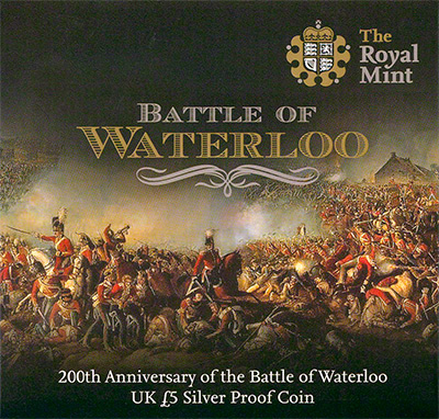 Battle of Waterloo Silver Proof �5 Crown Presentation Box Obverse