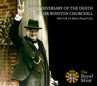 Winston Churchill Silver Proof £5 Box Cover