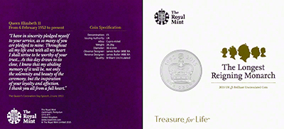 2015 Royal Mint Longest Reigning Monarch Uncirculated Five Pound Crown in Folder Reverse