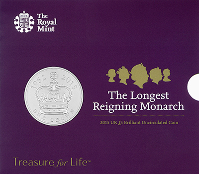 2015 Royal Mint Longest Reigning Monarch Unc Five pound Crown Obverse