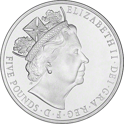 2015 Royal Mint Longest Reigning Monarch Five pound Crown Obverse
