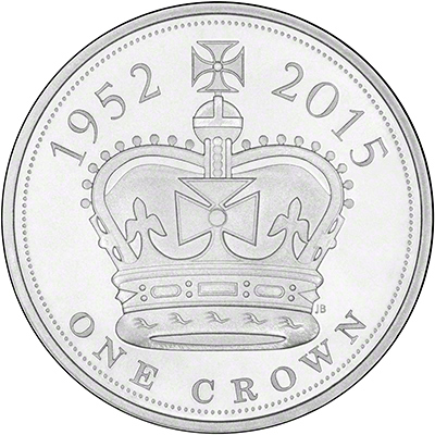 2015  Royal Mint Longest Reigning Monarch Five pound Crown Reverse
