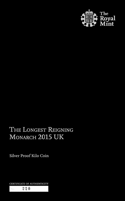 2015 Longest Reigning Monarch Silver Proof One Kilo Coin Certificate Obverse