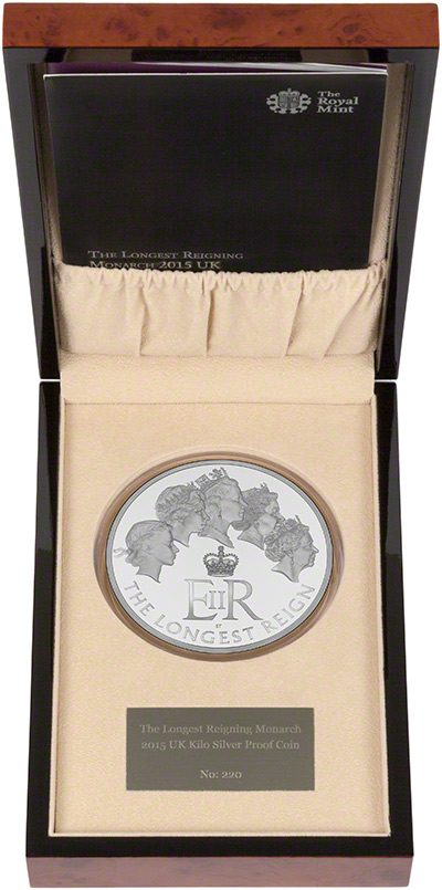 2015 Longest Reigning Monarch Silver Proof One Kilo Coin in Presentation Box