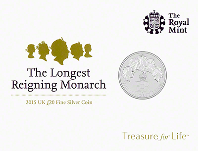 2015 Longest Reigning Monarch Silver Twenty Pound Coin Obverse in Presentatation Card