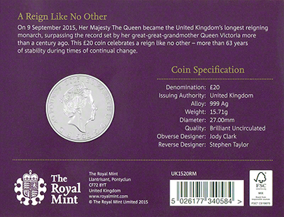 2015 Longest Reigning Monarch Silver Twenty Pound Coin Reverse in Presentation Card