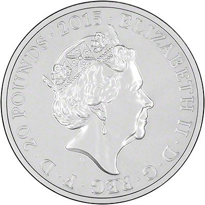 2015 Longest Reigning Monarch Silver Twenty Pound Coin Obverse